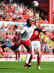 Bristol City's David Clarkson battles for the ball with Nottingham Forest's Wes Morgan  - Photo mandatory by-line: Joe Meredith/JMP - 25/04/2011 - SPORT - FOOTBALL - Championship - Bristol City v Nottingham Forest - Ashton Gate Stadium, Bristol, England