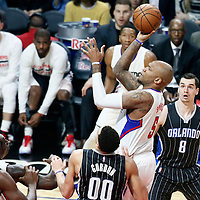 11 January 2017: LA Clippers center Marreese Speights (5) goes for the jump shot during the LA Clippers 105-96 victory over the Orlando Magic, at the Staples Center, Los Angeles, California, USA.