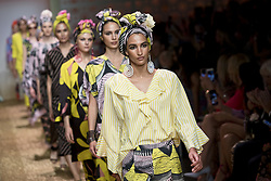 July 3, 2018 - Berlin, Germany - Models run the runway during the Marc Cain Spring/Summer 2019 Fashion Show at Westhafen in Berlin, Germany on July 3, 2018. (Credit Image: © Emmanuele Contini/NurPhoto via ZUMA Press)