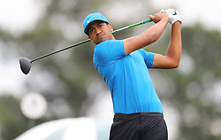 April 7, 2018 - Augusta, GA, USA - Tony Finau hits from the 1st tee during the third round of the Masters Tournament on Saturday, April 7, 2018, at Augusta National Golf Club in Augusta, Ga. (Credit Image: © Curtis Compton/TNS via ZUMA Wire)