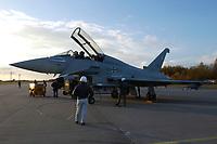 """03 NOV 2003, LAAGE/GERMANY:<br /> Eurofighter EF 2000 """"Typhoon"""" hier in der zweisitzigen Ausbildungsversion, neues Jagdflugzeug der Bundesluftwaffe, Jagdgeschwader 73 """"Steinhoff"""", Fliegerhorst Laage<br /> IMAGE: 20031103-01-075<br /> KEYWORDS: Bundeswehr, Bundesluftwaffe, Jet, Kampfflugzueg, am Boden"""