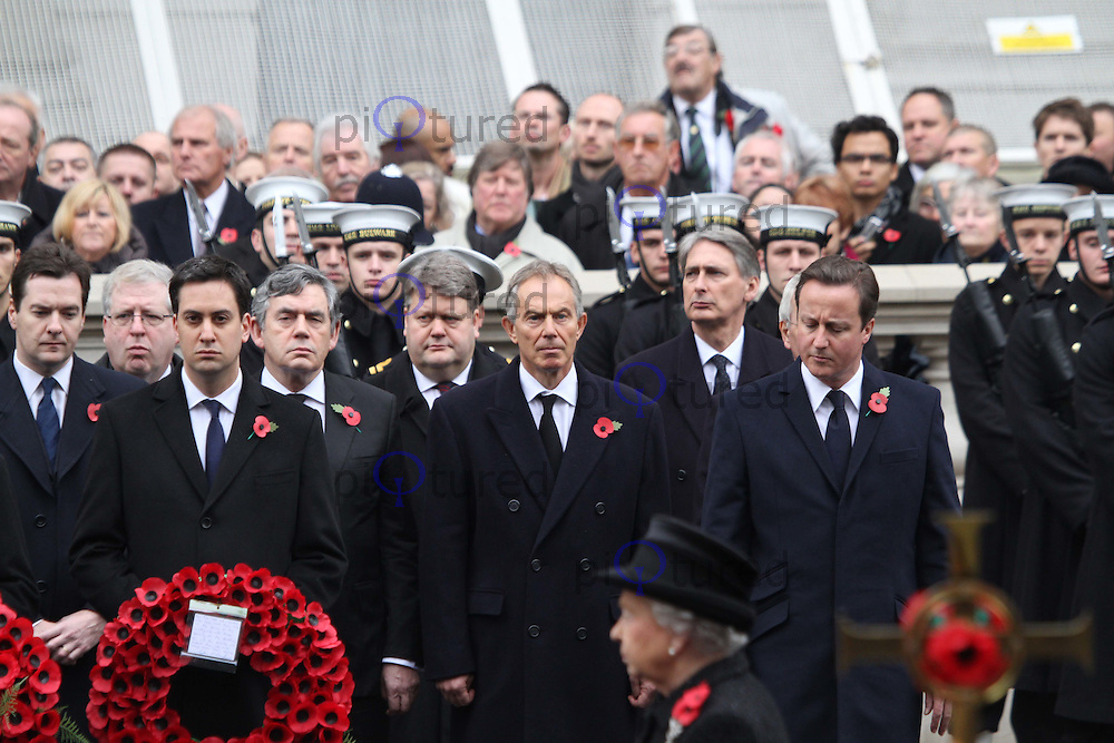 David Cameron Prime Minister; Ed Miliband Leader Labour; Nick Clegg Leader Liberal Democrats; Gordon Brown; Tony Blair; John Major Remembrance Sunday - Cenotaph Service, Whitehall, London, UK, 14 November 2010:  Contact: Ian@Piqtured.com +44(0)791 626 2580 (Picture by Richard Goldschmidt)