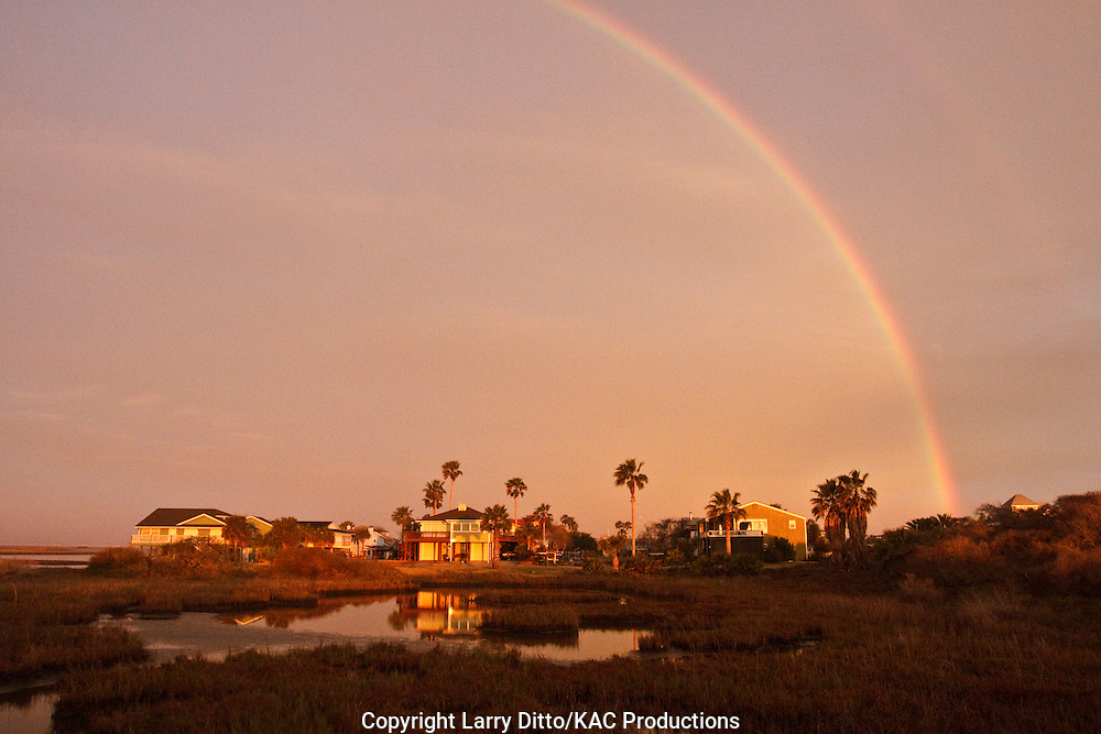 Rainbow at Goose Island State Park, Rockport, Texas, USA