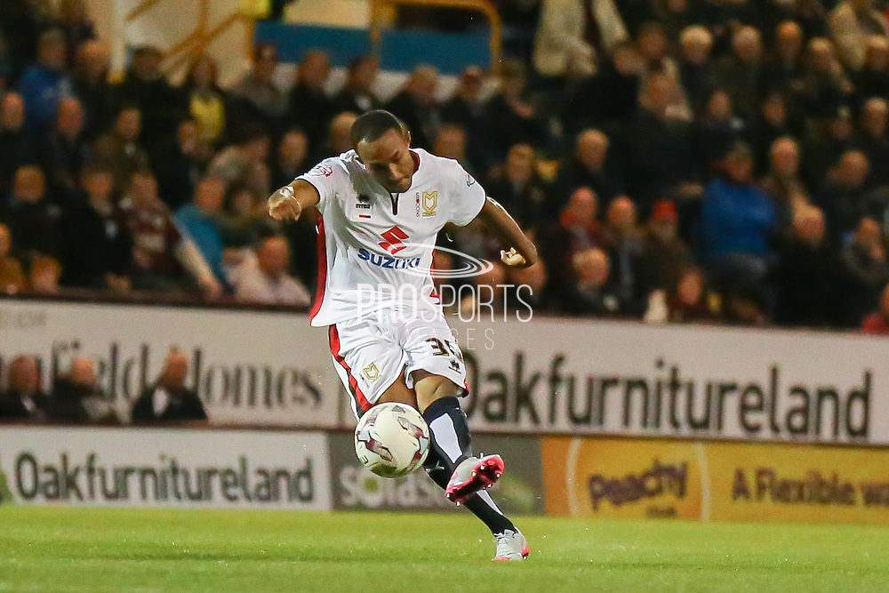 Milton Keynes Dons forward, on loan from Bolton Wanderers, Rob Hall with a shot during the Sky Bet Championship match between Burnley and Milton Keynes Dons at Turf Moor, Burnley, England on 15 September 2015. Photo by Simon Davies.