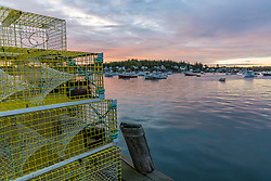 Lobster traps at dawn in the harbor on Vinalhaven, Maine.