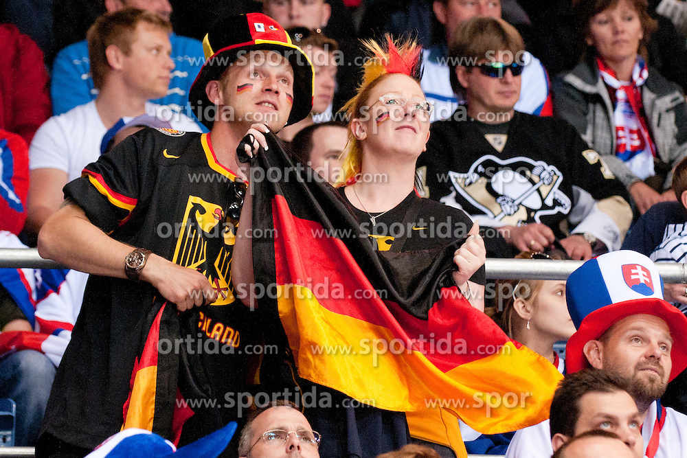 German fans during ice-hockey match between Denmark and Germany of Group E in Qualifying Round of IIHF 2011 World Championship Slovakia, on May 7, 2011 in Orange Arena, Bratislava, Slovakia. (Photo by Matic Klansek Velej / Sportida)