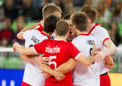 Players of Hungary celebrate during qualifications match of FIVB Men's Volleyball World Championship 2014 between National teams of Slovenia and Israel in pool B on May 25, 2013 in Arena Stozice, Ljubljana, Slovenia. (Photo By Vid Ponikvar / Sportida)