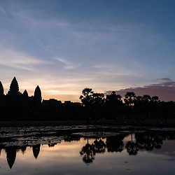 Sunrise behind Angkor Wat
