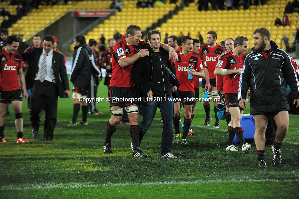 Crusaders lock Brad Thorn celebrates with Richie McCaw after winning the NZ conference. Super 15 rugby match - Crusaders v Hurricanes at Westpac Stadium, Wellington, New Zealand on Saturday, 18 June 2011. Photo: Dave Lintott / photosport.co.nz