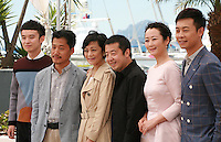 The cast; Dong Zijang, Liang Jingdong, Chang Sylvia,  Jia Zhang-Ke, Zhao Tao, Zhang Yi<br />  at the Mountains May Depart film photo call at the 68th Cannes Film Festival Tuesday May 20th 2015, Cannes, France.