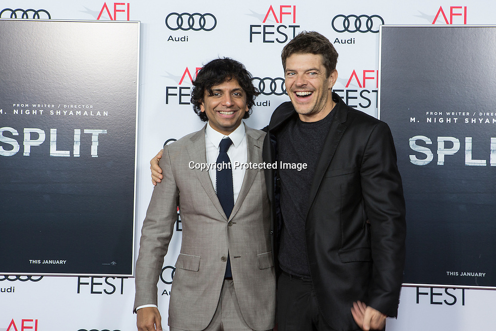 Director, writer, producer M Night Syamalan (L) with producer Jaason Blum (R) attend Split premiere at AFI Fest 2016 presented by AUDI at TCL Chinese Theatre in Hollywood, CA on November 15th