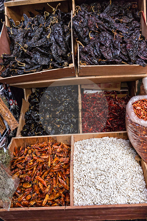 Dried chili peppers at Benito Juarez market in Oaxaca, Mexico.