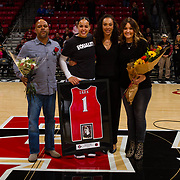 24 February 2018: The San Diego State women's basketball team closes out it's home schedule of the regular season Saturday afternoon against San Jose State. San Diego State Aztecs guard Khalia Lark (1) seen her in a senior ceremony prior to taking on San Jose State. At halftime the Aztecs lead the Spartans 36-33 at Viejas Arena.<br /> More game action at sdsuaztecphotos.com
