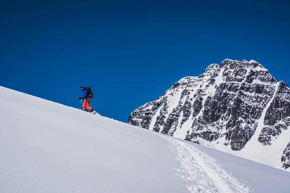 Joe Morabito below Polemic Peak, Howson Range, British Columbia.