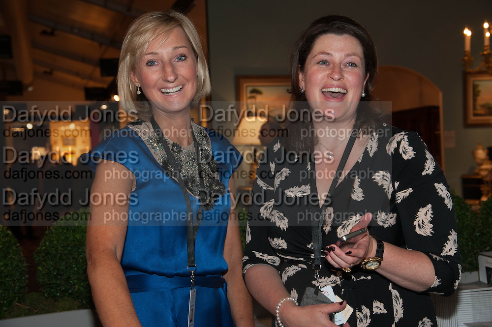 Sarah Percy-Davis (L) and Emma McVitie (R) at the Opening of The LAPADA  Art and Antiques Fair. Berkeley Sq. London. 24 September 2013.