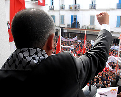 November 17, 2018 - Tunis, Tunisia - The Tunisian General Union of Labor (UGTT) organized a large workers' rally Saturday, November 17, 2018, in Mohamed Ali Square in the capital.in the presence of Secretary-General Noureddine Taboubi who delivered a speech on the progress of the social negotiations and the general situation in the country. (Credit Image: © Chokri Mahjoub/ZUMA Wire)