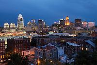 Twilight Sunset view of Cincinnati and Over-the-Rhine