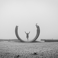 A woman jumping through an art piece, arms in the air, while a crow looks on, wings spread.