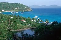 View of White Bay on Jost Van Dyke, British Virgin Islands.