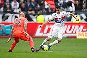 Rafael of Lyon and Vincent Bessat of Caen during the French Championship Ligue 1 football match between Olympique Lyonnais and SM Caen on march 11, 2018 at Groupama stadium in Decines-Charpieu near Lyon, France - Photo Romain Biard / Isports / ProSportsImages / DPPI