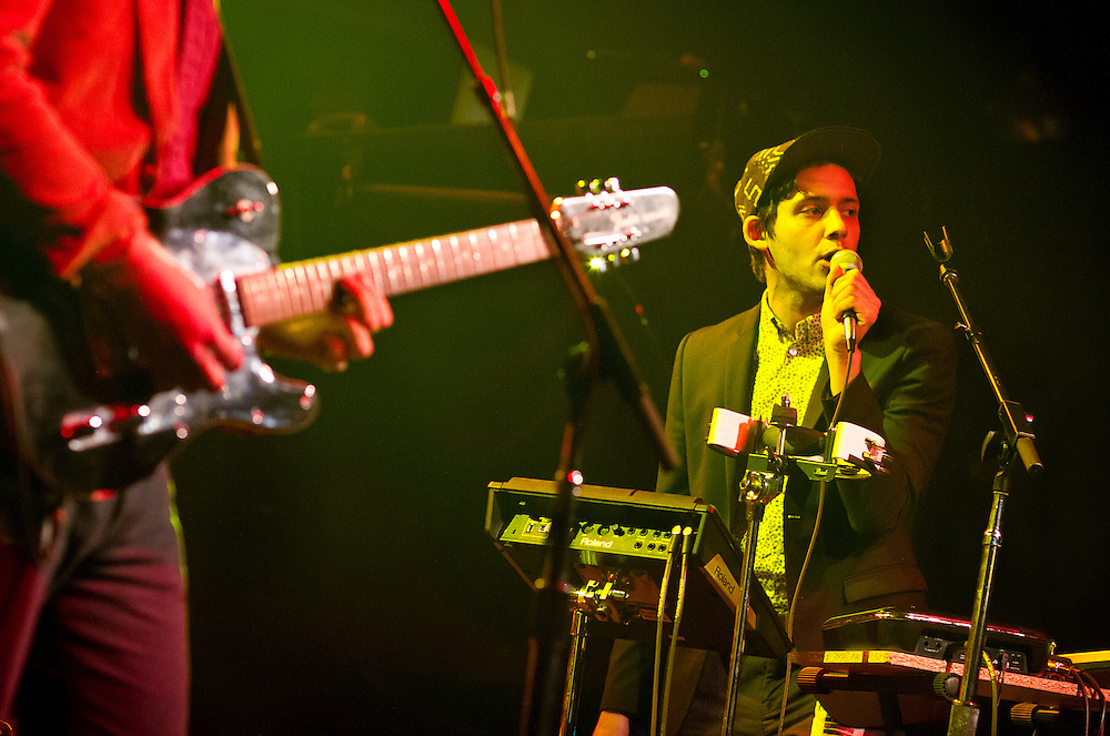 "Liam Benzvi, right, of the band Strange Names performs during Minneapolis Mayor R.T. Rybak's ""Un-auguration"" Party at First Avenue, Wednesday, December 18, 2013."