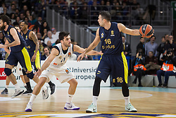 March 2, 2018 - Madrid, Madrid, Spain - Facundo Campazzo (L) and Kostas Sloukas (R) during Fenerbahce Dogus Istanbul victory over Real Madrid (83 - 86) in Turkish Airlines Euroleague regular season game (round 24) celebrated at Wizink Center in Madrid (Spain). March 2nd 2018. (Credit Image: © Juan Carlos Garcia Mate/Pacific Press via ZUMA Wire)