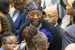 Rapper 2 Chainz, middle, attends a rally for gubernatorial candidate Stacey Abrams in Forbes Arena at Morehouse College in Macon, GA, USA, on Friday, Nov. 2, 2018. Photo by Alyssa Pointer/Atlanta Journal-Constitution/TNS/ABACAPRESS.COM
