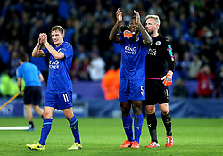Marc Albrighton, Wes Morgan and Kasper Schmeichel of Leicester City celebrate their sides win over Sevilla after playing key roles - Mandatory by-line: Robbie Stephenson/JMP - 14/03/2017 - FOOTBALL - King Power Stadium - Leicester, England - Leicester City v Sevilla - UEFA Champions League round of 16, second leg