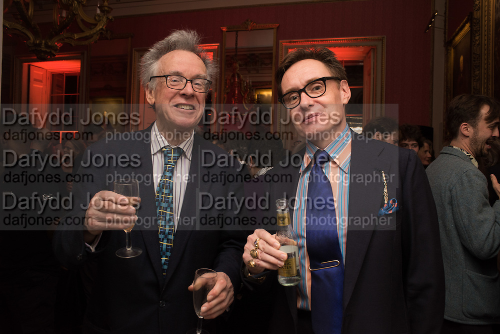 ANDREW BARROW; NICK FOULKES, Literary Review Christmas party and Bad SEx Awards. In and Out club. St. James Sq. London. 3 December 2018