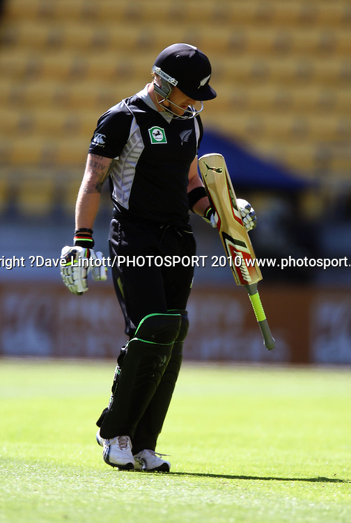 NZ's Brendon McCullum walks off after his dismissal.<br /> Fifth Chappell-Hadlee Trophy one-day international cricket match - New Zealand v Australia at Westpac Stadium, Wellington. Saturday, 13 March 2010. Photo: Dave Lintott/PHOTOSPORT