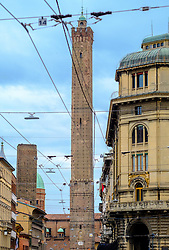Bologna's famous towers (Le due Torri). Landmark symbols of the city built by noble families in the 12th century.<br /> <br /> (c) Andrew Wilson | Edinburgh Elite media