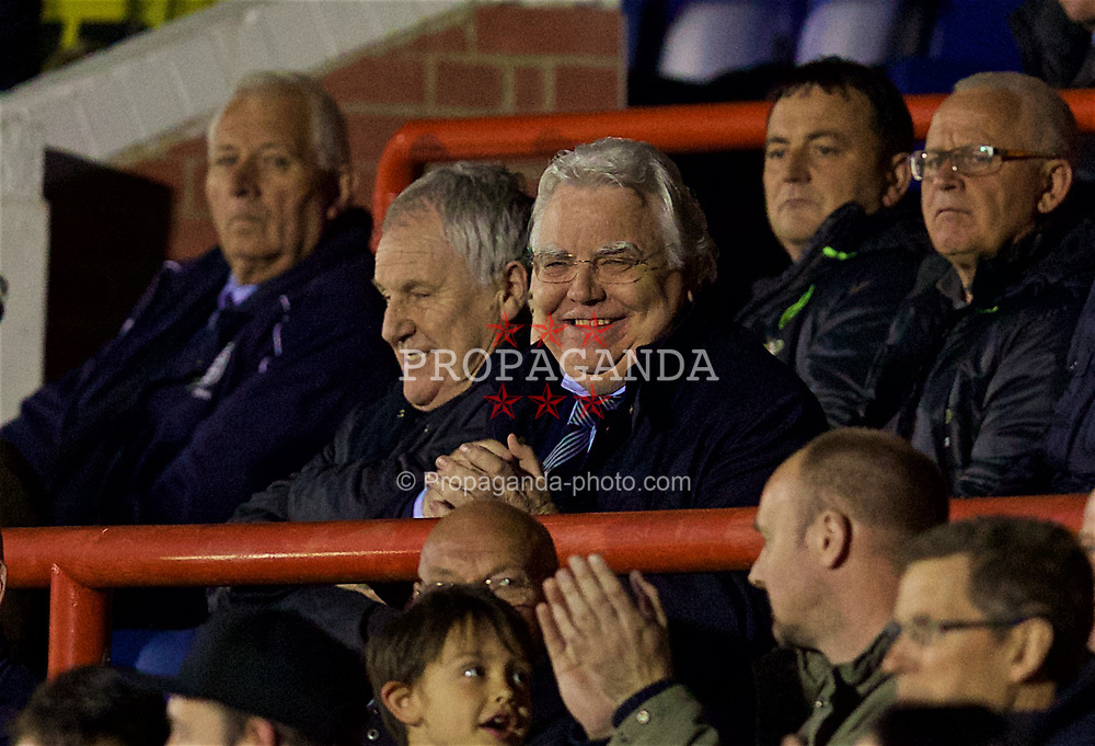ALDERSHOT, ENGLAND - Friday, April 21, 2017: Everton's chairman Bill Kenwright watches his side take on Chelsea during FA Premier League 2 Division 1 Under-23 match at the Recreation Ground. (Pic by David Rawcliffe/Propaganda)