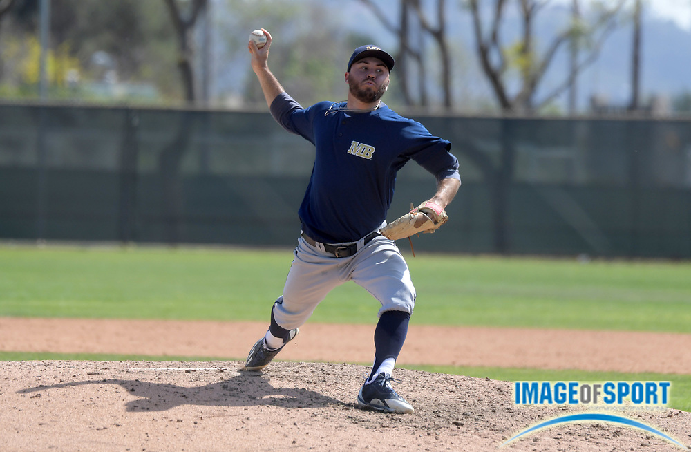 Cal State Monterey Bay Otters pitcher Alex Van Es delivers a pitch during an NCAA College baseball game against the Cal  Poly Pomona Broncos in Pomona, Calif., Friday, April 13, 2018.