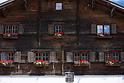 17th Century Rathaus, Haus Jeuch, town hall built 1680 in Klosters, Graubunden, Switzerland