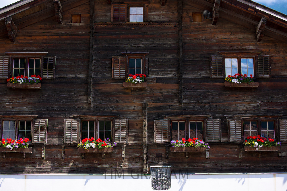 17th Century Rathaus, Haus Jeuch, town hall built 1680 in Klosters, Graubunden, Switzerland