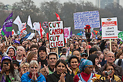 The crowd, approximatelty 500,000  at the TUC March for the Alternative 26 March 2011, Hyde Park London.