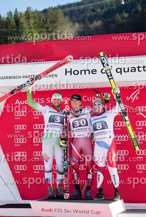 30.01.2016, Kandahar, Garmisch Partenkirchen, GER, FIS Weltcup Ski Alpin, SuperG, Damen, Siegerpräsentation, im Bild v.l. Bostjan Kline (SLO, 2. Platz), Aleksander Aamodt Kilde (NOR, 1. Platz), Beat Feuz (SUI, 3. Platz) // 2nd placed Bostjan Kline of Slovenia ( L ), winner Aleksander Aamodt Kilde of Norway ( C ) and 3rd placed Beat Feuz of Switzerland ( R ) on podium during the winner presentation for the men's Downhill of Garmisch FIS Ski Alpine World Cup at the Kandahar course in Garmisch Partenkirchen, Germany on 2016/01/30. EXPA Pictures © 2016, PhotoCredit: EXPA/ Johann Groder