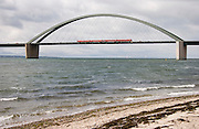 Fehmarn Island. The Fehmarnsund-Bruecke (bridge across the Fehmarn Sund of the Baltic Sea) is shared by cars and trains.