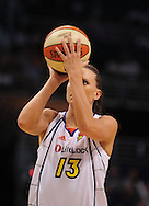 Aug 26, 2010; Phoenix, AZ, USA; Phoenix Mercury forward Penny Taylor (13) shoots a free throw against the San Antonio Silver Stars during the first half in game one of the western conference semi-finals in the 2010 WNBA Playoffs at US Airways Center.  Mandatory Credit: Jennifer Stewart-US PRESSWIRE