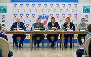 (L-R) Janusz Zaorski and Jaroslaw Dabrowski and Krzysztof Suski and Dorota Haller BNP Paribas and Radoslaw Szymanik during press conference the BNP Paribas Davis Cup 2014 between Poland and Croatia at Wedding Palace in Warsaw on March 25, 2014.<br /> <br /> Poland, Warsaw, March 25, 2014<br /> <br /> Picture also available in RAW (NEF) or TIFF format on special request.<br /> <br /> For editorial use only. Any commercial or promotional use requires permission.<br /> <br /> Mandatory credit:<br /> Photo by &copy; Adam Nurkiewicz / Mediasport