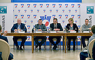 (L-R) Janusz Zaorski and Jaroslaw Dabrowski and Krzysztof Suski and Dorota Haller BNP Paribas and Radoslaw Szymanik during press conference the BNP Paribas Davis Cup 2014 between Poland and Croatia at Wedding Palace in Warsaw on March 25, 2014.<br /> <br /> Poland, Warsaw, March 25, 2014<br /> <br /> Picture also available in RAW (NEF) or TIFF format on special request.<br /> <br /> For editorial use only. Any commercial or promotional use requires permission.<br /> <br /> Mandatory credit:<br /> Photo by © Adam Nurkiewicz / Mediasport