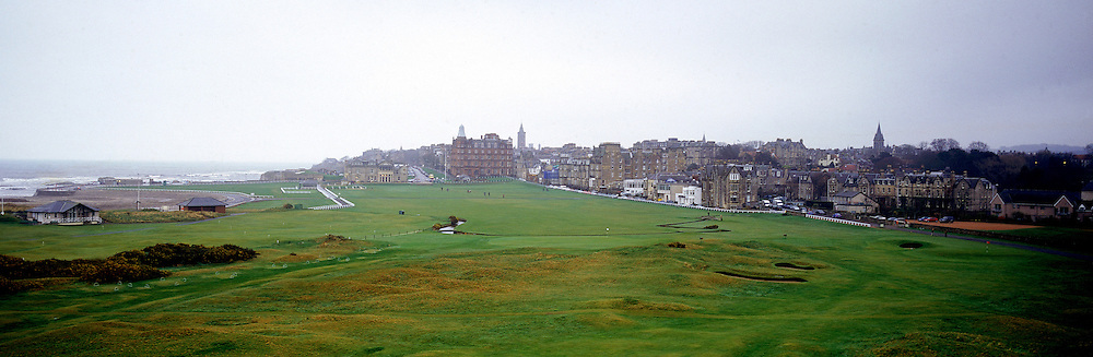 Panoramic Time Lapse Feature on St.Andrews Old Course,St Andrews,Fife,Scotland.Picture 1 in March 2005 shows the famous links begins to wake from her winter slumber... as she awaits another visit from the world's leading golfers in the upcoming summer Open Championship.