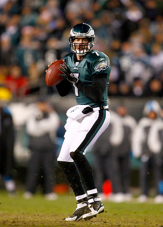 PHILADELPHIA - DECEMBER 4, 2006: Quarterback Jeff Garcia #7 of the Philadelphia Eagles drops back to pass against the Carolina Panthers on December 4, 2006 at Lincoln Financial Field in Philadelphia, Pennsylvania. The Eagles defeated the Panthers 27 to 24.