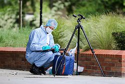 © Licensed to London News Pictures. 28/05/2019. London, UK.London, UK. A forensic officer on Warwick Road, Forest Gate, East London where a man in his 30s died in the early hours of this morning.<br />