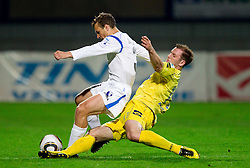 Danjel Rakuscek of Gorica vs Mitja Zatkovic of Domzale during football match between NK Domzale and HIT Gorica of 25th Round of PrvaLiga, on April 1, 2011, in Sports park Domzale, Slovenia. (Photo by Vid Ponikvar / Sportida)