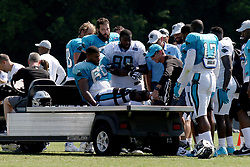 July 28, 2018 - Spartanburg, SC, U.S. - SPARTANBURG, SC - JULY 28: Daryl Williams (60) tackle Carolina Panthers is carried on a cart off the field after an injury to his right leg during the third day of the Carolina Panthers training camp practice at Wofford College July 28, 2018 in Spartanburg, S.C.  (Photo by John Byrum/Icon Sportswire) (Credit Image: © John Byrum/Icon SMI via ZUMA Press)