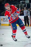 KELOWNA, CANADA -JANUARY 29: Jacob Cardiff RW #19 of the Spokane Chiefs takes a shot during warm up against the Kelowna Rockets on January 29, 2014 at Prospera Place in Kelowna, British Columbia, Canada.   (Photo by Marissa Baecker/Getty Images)  *** Local Caption *** Jacob Cardiff;