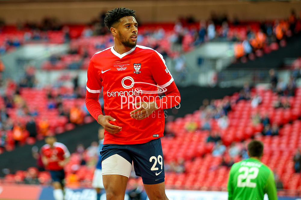 York City forward Vadaine Oliver (29) scores a goal and celebrates to make the score 2-1 during the FA Trophy match between Macclesfield Town and York City at Wembley Stadium, London, England on 21 May 2017. Photo by Simon Davies.