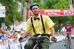 Participants on penny-farting bicycles compete in a Lenape Scorcher vintage bike race, held ahead of the September 11, 2016 Bucks County Classic, in Doylestown PA.