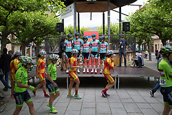 Colour clashes at the sign-on podium before Stage 4 the Emakumeen Bira - a 58 km road race, between Etxarri Aranatz and San Miguel on May 20, 2017, in Basque Country, Spain. (Photo by Balint Hamvas/Velofocus)